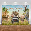 Happy Birthday safari jungle theme birthday party backdrop for photography tager lion giraffe background for photo booth studio