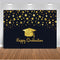 Happy Graduation Backdrop for Photography Party Decoration Banner Gold Glitter Background for Photo Studio Class of