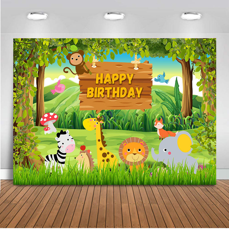 Happy birthday theme party safari jungle forest animals backdrop for photography newborn baby wild birthday background for photo