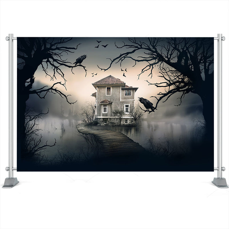 Horror Halloween Backdrops Crow Old Trees Birthday Party Backgrounds Photography Castle Building Lake Evil Witch Photo Studio