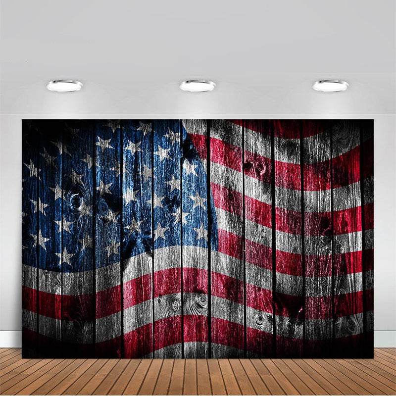 Independence Day Photography Backdrop American Flag Party Decoration Day 4th of July Photo Background Wood Floor Banner