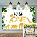 Jungle Animal Birthday Backdrop Gold Safari Animals Crown Wild One Photography Background Boy First Birthday Party Decor Banner