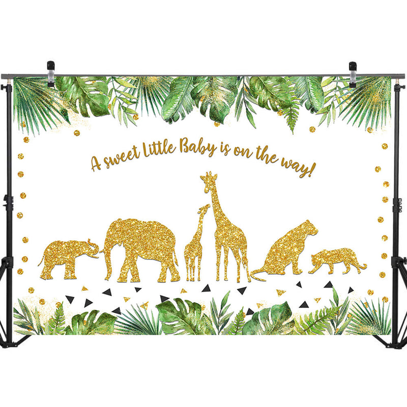 Jungle Safari Baby Shower Backdrop Baby Animals Birthday Photography Background Golden Animals Party Banner Backdrops