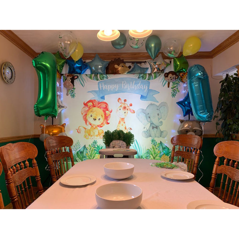 Jungle Safari Photo Backdrop Happy Birthday Forest Cute Elephant and Lion Backdrops Animal 1st Birthday Party Decor Photography