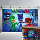 Cartoon Super City Themed Photography Backdrop PJ Masks Hero for Baby Boys Happy Birthday Party Decoration Dessert Table Baby Shower Supplies Photo Background