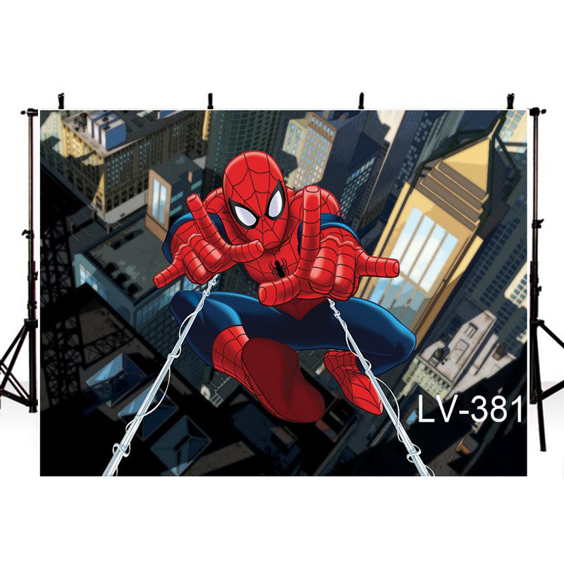 spiderman party backdrop Peter Benjamin Parker backdrop movie theme spiderman cityscape backdrop spiderman background for birthday party spiderman photo booth props