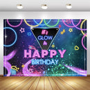 Let's Glow Backdrop Happy Birthday Photography Background Neon Laser Party Decorations Banner Backdrops