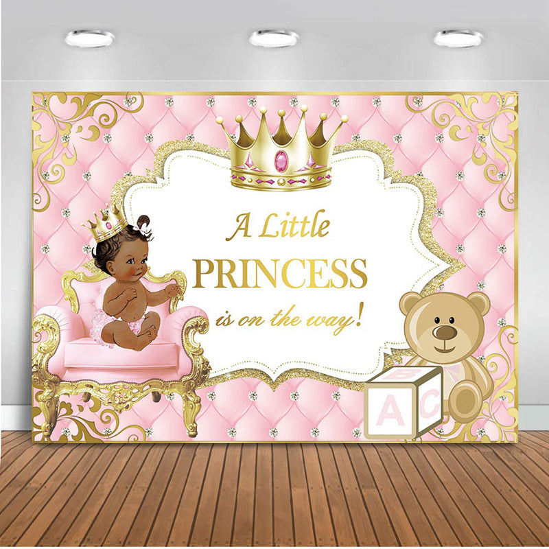 Little Ethnic Princess Baby Shower Backdrop Pink and Gold Tufted Newborn Baby Party Background Crown Cute Toy Bear Photography
