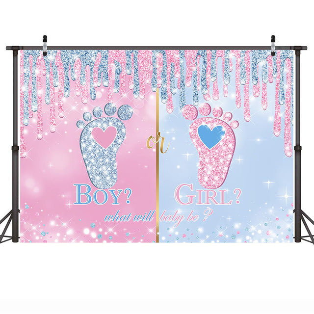 Little Feet Gender Reveal Backdrop for Boy or Girl Party Decoration Newborn Baby Shower Pink Blue Glitter Photo Background Props