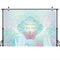 Little Mermaid Backdrop for Photographic Shoot Birthday Party Photo Background Poster for Girls Underwater World Shell