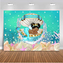 Little Mermaid Backdrop for Photography Newborn Girl Birthday Theme Party Decoration Supplies Baby Shower Personalize Backdrops