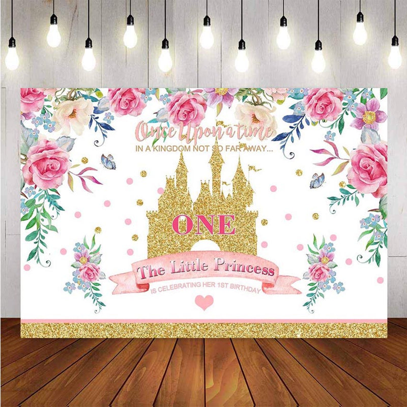 Little Princess 1st Birthday Photography Background Birthday Party Pink Flowers Castle Decor Photocall Backdrop Photo Studio