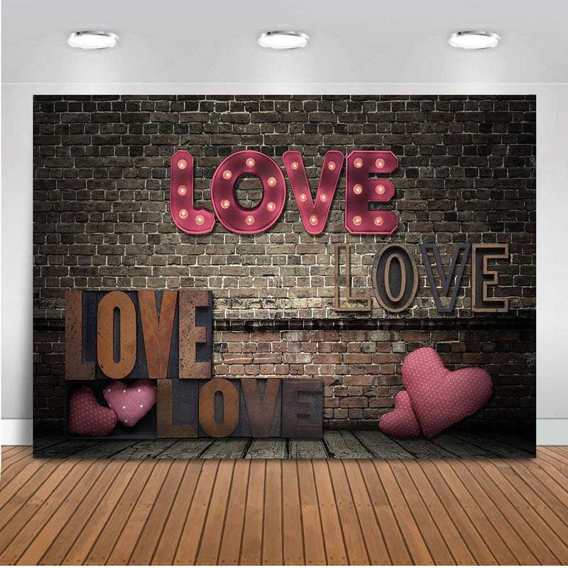 Love backdrop Valentine's Day photography background brick wall portrait backdrop for photographic studio red heart photo shoot