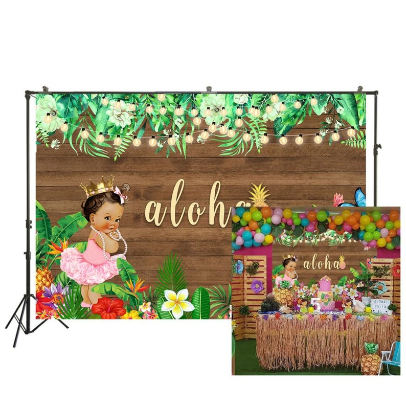 Birthday Newborn Backdrop Aloha Baby Shower Backdrop Hawaiian Luau Princess Party Photography Background Photo Booth