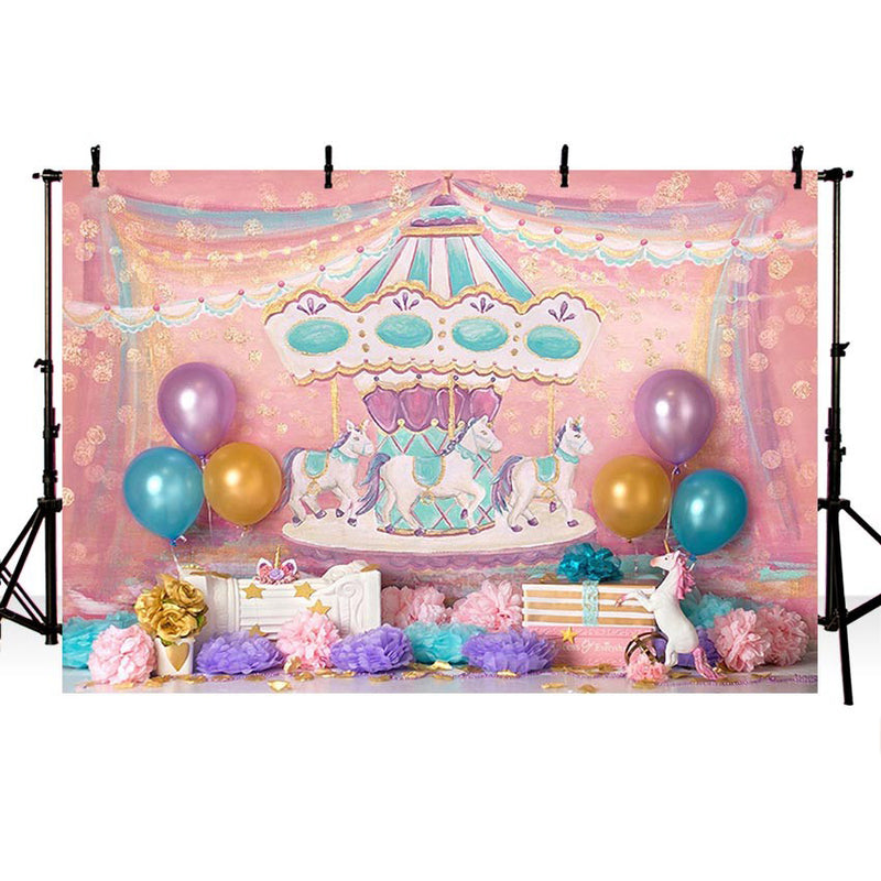 Birthday Party Carousel Photography Backdrop Colorful Balloon Backdrop for Photo Booth Background Custom