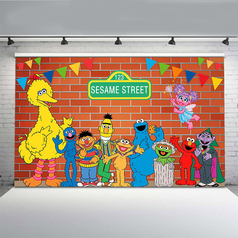 Sesame Street Happy Birthday Theme Photo Backgrounds Boy Girl 1st 2nd 3rd Birthday Party Photography Backdrops Baby Shower Supplies Dessert Cake Table Decor Vinyl