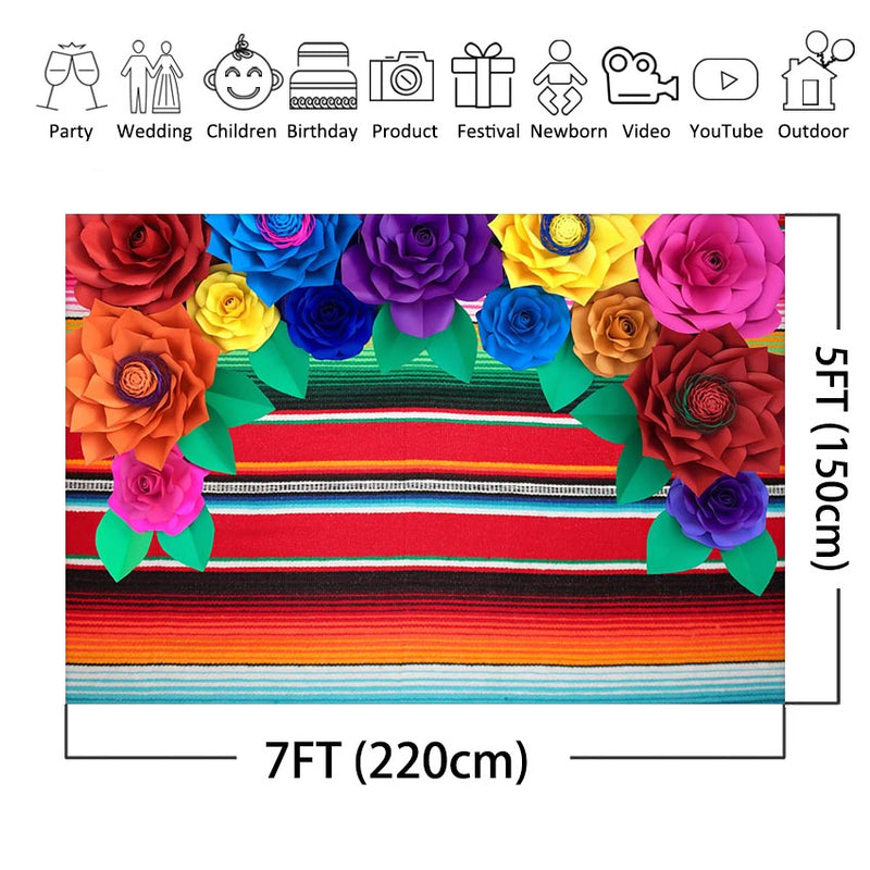 Mexican Fiesta Stripes Photography Backdrop Cinco De Mayo Mexican Festival Colorful Flower Birthday Party Background