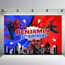Customized Red Blue Spiderman Superhero Backdrop Boys Birthday Party Photography Backgrounds for Photo Studio