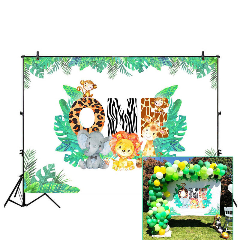 Spring Wild One Backdrop for Party Decoration Supplies Animals Photo Background Studio Lion Elephant and Giraffe