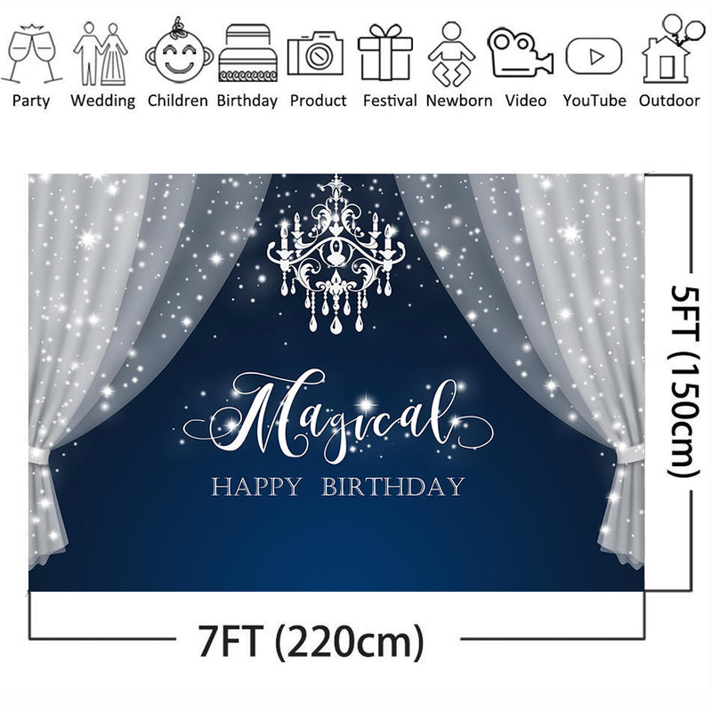 Customize Magical Happy Birthday Backdrop for Photography Glitter Curtain Background for Photo Studio Newborn Baby Shower Cake Table Favor