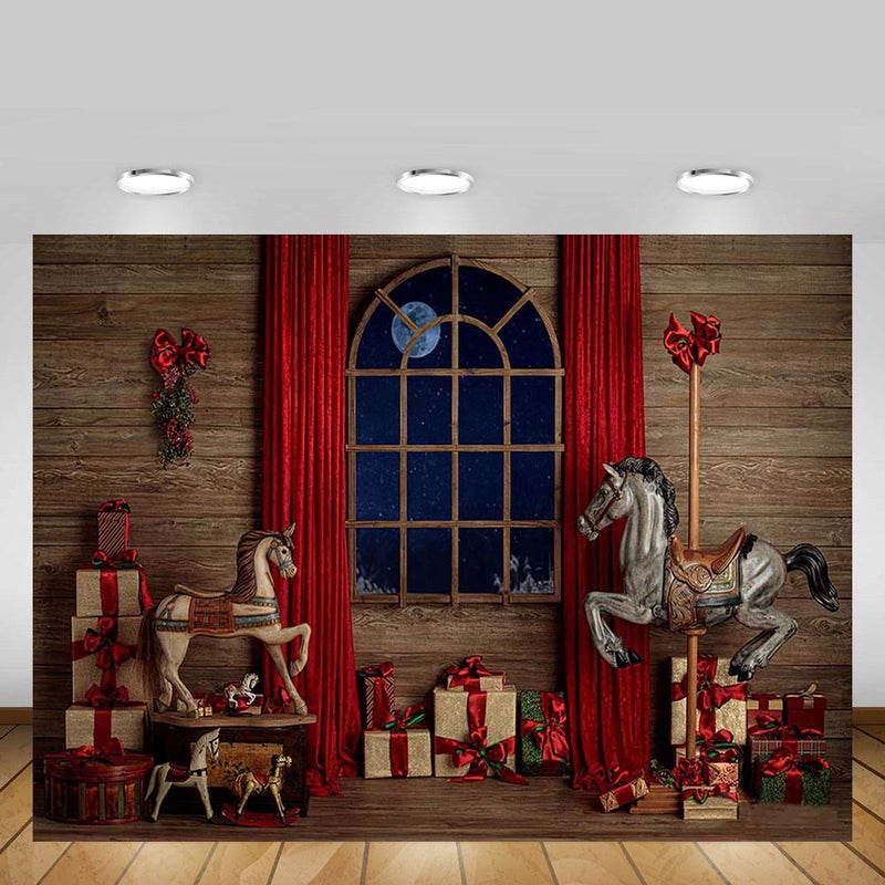 Christmas Backdrop Vintage Wood Wall Red Curtain Window Gift Horse Baby Portrait Photography Background Photo Studio