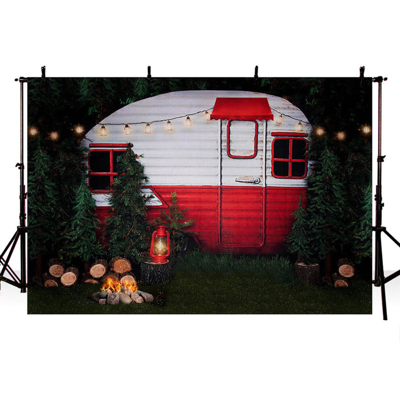 Door Photography Background Pine Tree Lights Fire Child Birthday Party Backdrop Photophone Photo Studio Props