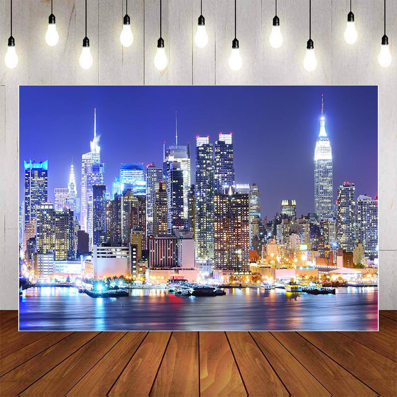 City Buildings Photography Background Night Scenic Newborn Backdrop Photophone Photocall Studio