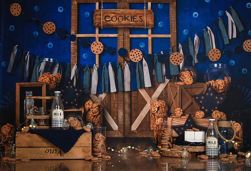 Cookies-Milk-Photography-Background-Wooden-Door-Blue-Backdrops-Children-Birthday-Party-Photocall-Photo-Studio