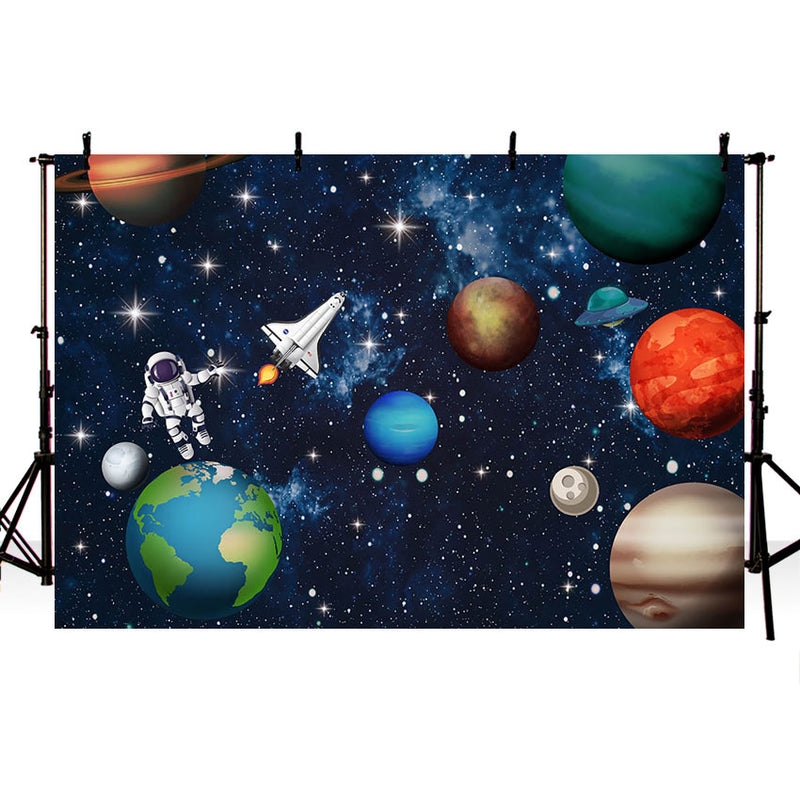 Earth Universe Space Planet Photography Background Spaceship Astronaut Birthday Party Backdrop Photocall Photo Studio