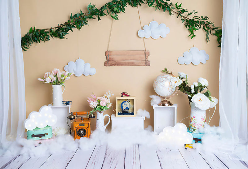 Photography Background Green Plants Phone Globe Cloud Baby Shower Birthday Children Photophone Backdrop Photo Studio