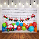 Photography Background White Brick Wall Red Car Balloon Newborn Baby Birthday Party Decor Backdrop Photocall Studio