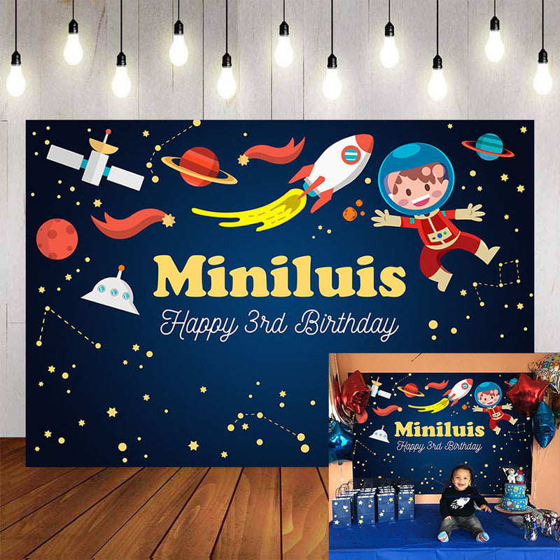Custom Name Space Photography Background Rocket Starry Planet Birthday Party Child Custom Backdrop Photophone Photo Studio Props