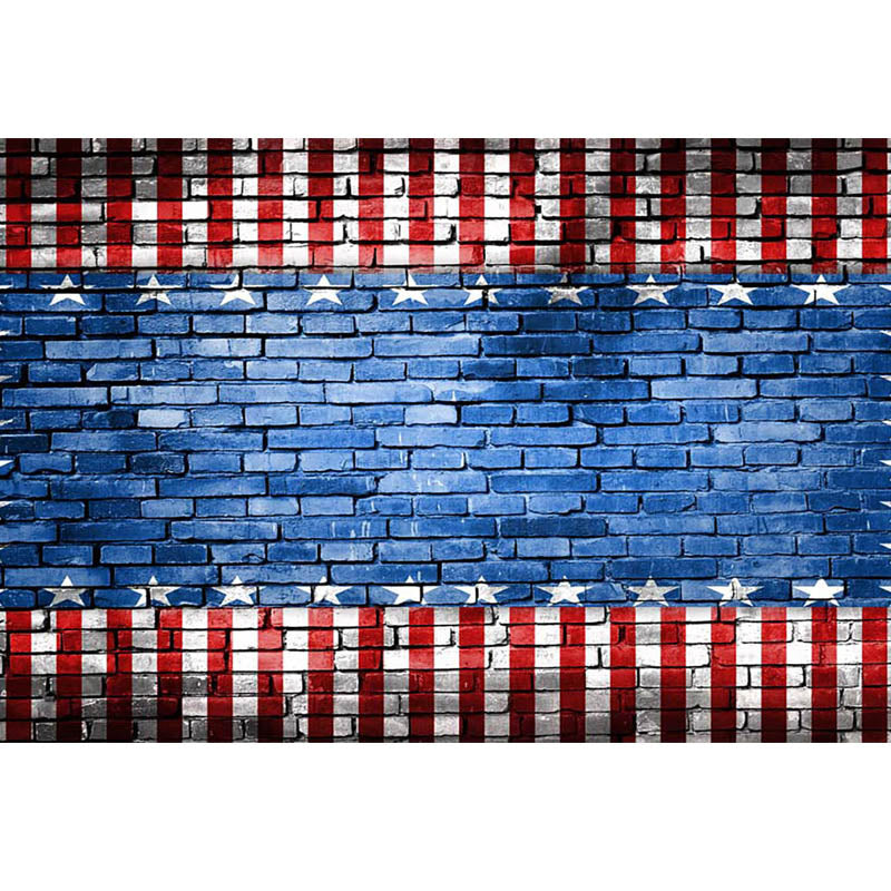 American Flag Brick Wall Background for Photography Independence Day Photo Backdrop for Picture Photo Background