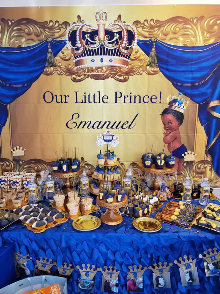 Baby Shower Photography Backdrop Crowned Royal Prince Vinyl Background Gold and Blue Curtain Newborn Birthday Party