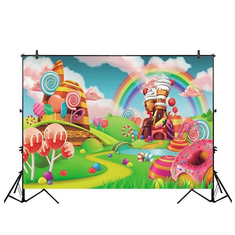 Candy Bar Photography Backdrops Rainbow Theme Party Decorations Photo Background Cartoon Props for Children Birthday Custom