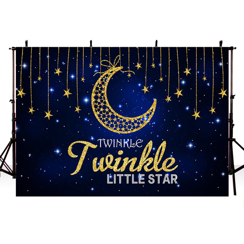 Twinkle Twinkle Little Star Photography Background Navy Blue Starry Moon Baby Shower Vinyl Photo Backdrop Kids Party Banner Cake Table Decor Supplies