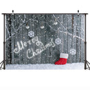 Winter Snow Wooden Photography Backdrops Merry Christmas Background Backdrops Snowflake Props Grey Wood Vinyl photo Backdrop Kid