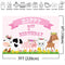 Farm Theme Happy 1st Birthday Photo Backdrop Animal Birthday Party Decoration Props Background Pink Wave Point Cow Pig