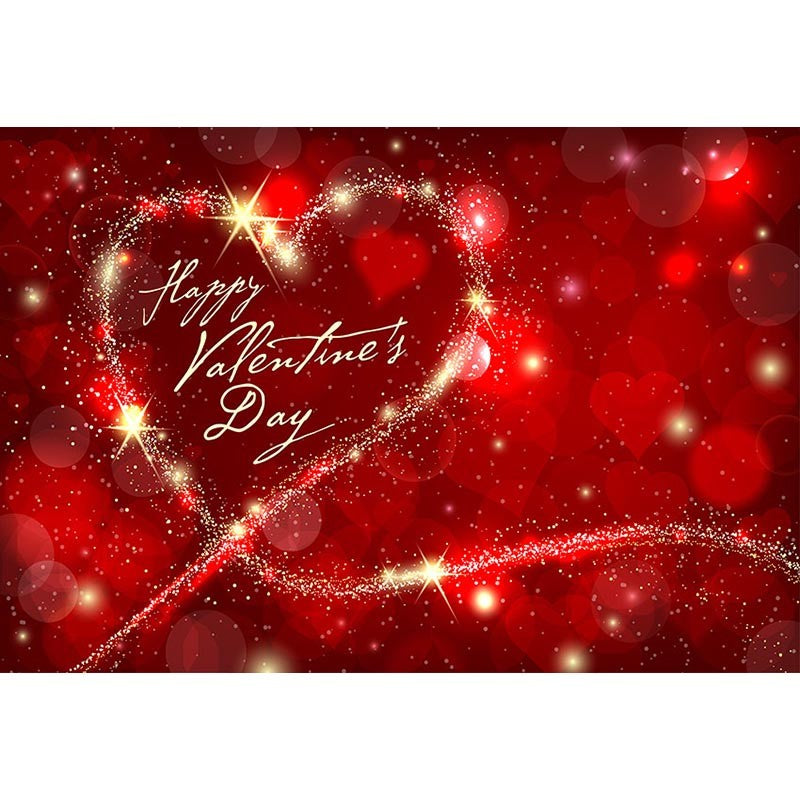 Happy Valentine's Day Photography Backdrop Red Heart Glitter Bokeh Background for Photographic Studio Printed