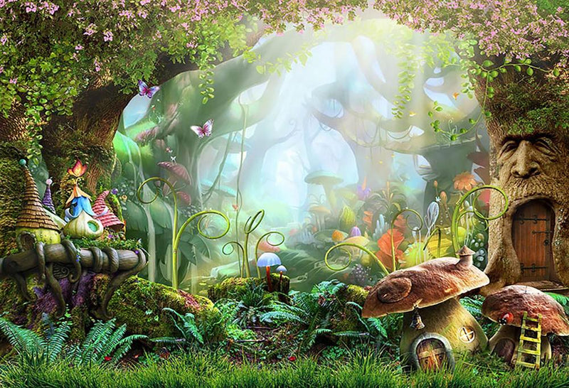 Jungle Fairy Backdrops Safari Party Photography Backgrounds Alice in wonderland party decoration Kids backdrop Photo Studio