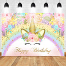 Unicorn Happy Birthday Backdrop Gold Glitter Rainbow Unicorn Floral Background Cake Table Banner Photo Booth Backdrops