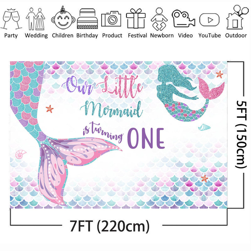 Mermaid Backdrop for Photography Happy Birthday Customize Background for Photo Booth Studio Party Decoration Poster Banner Prop