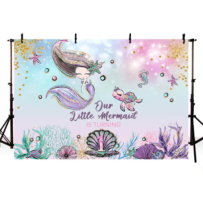 Mermaid Under The Sea Girl Birthday Backdrop Decoration Mermaid Party Banner Photo Booth Background Photo Studio Supplies