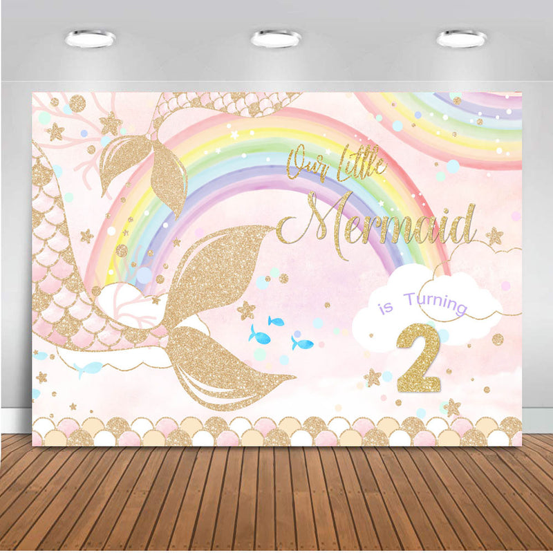 Mermaid backdrop for photography Rainbow Background for photo studio White Cloud Backdrops Newborn Birthday Theme Party Decor