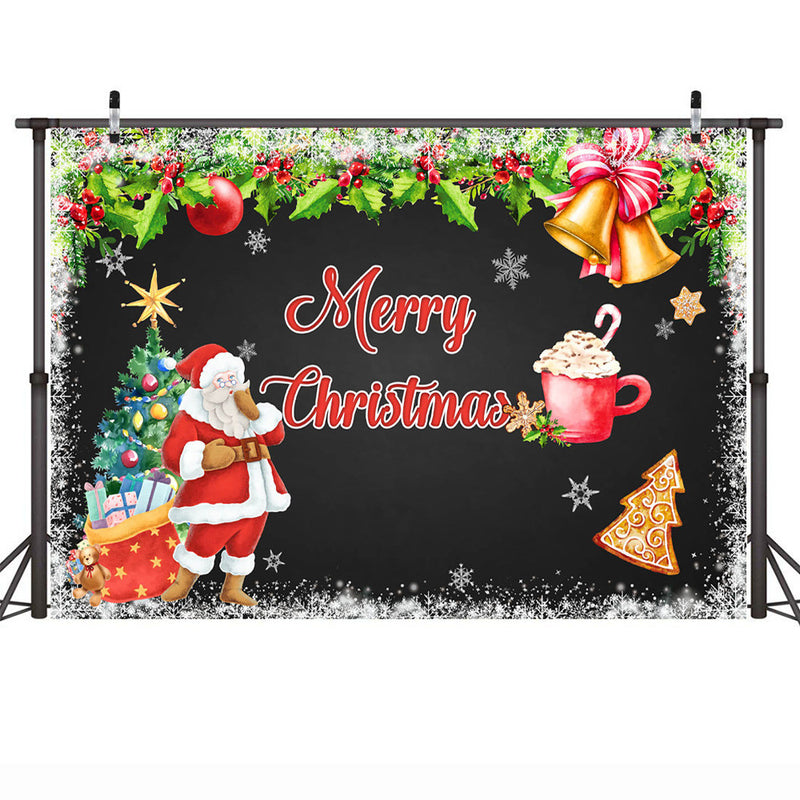 Merry Christmas Backdrop for Photography Santa Claus Gift Red X-mas Christmas Tree Photo Background Green Leaves Bell Photobooth