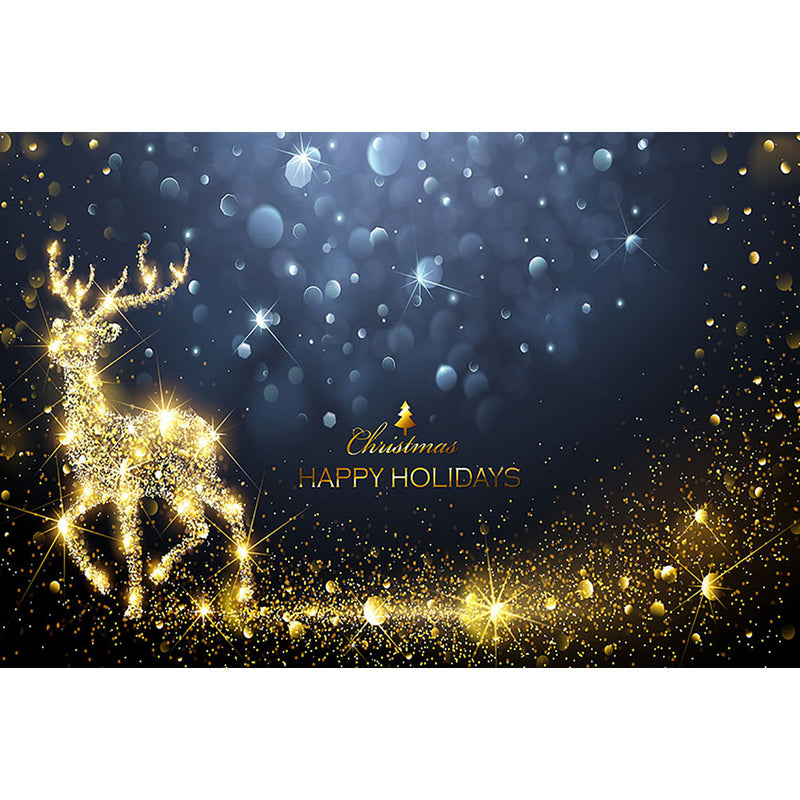 Merry Christmas Happy Holidays Photography Backdrops Glitter Gold Elk Bokeh Xmas Background for Photo Studio Photocall Portrait