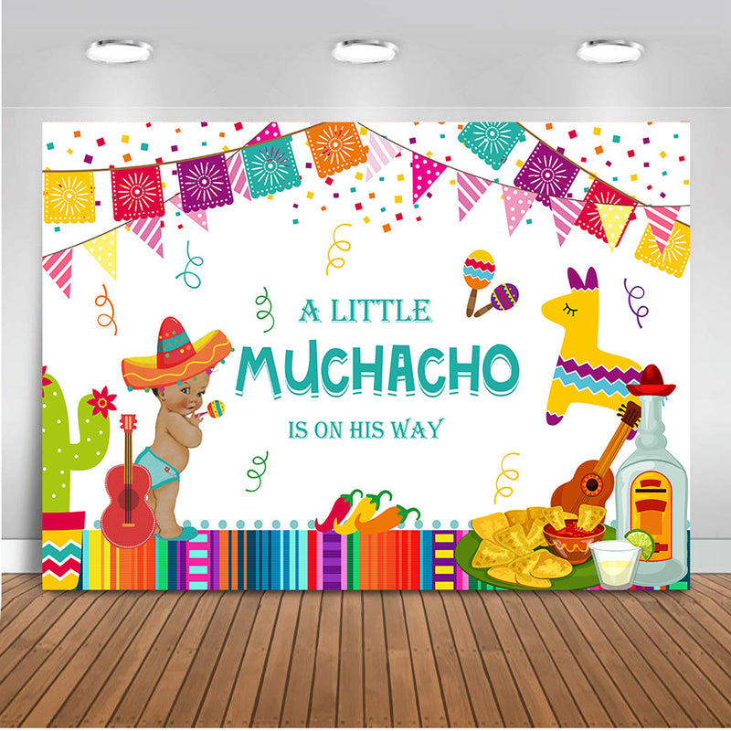 Mexican Baby Shower Backdrop Taco Bout Little Newborn Muchacho Boy Photo Background Fiesta Party Banner Supplies Photography