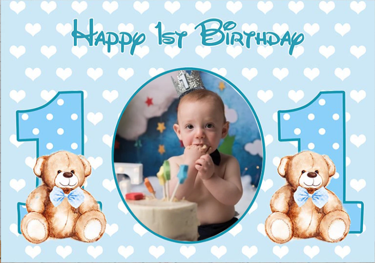 Personalized Boy Happy 1st Birthday Blue Backdrop Baby Shower Photography Background Poster Dessert Table Decorations Props