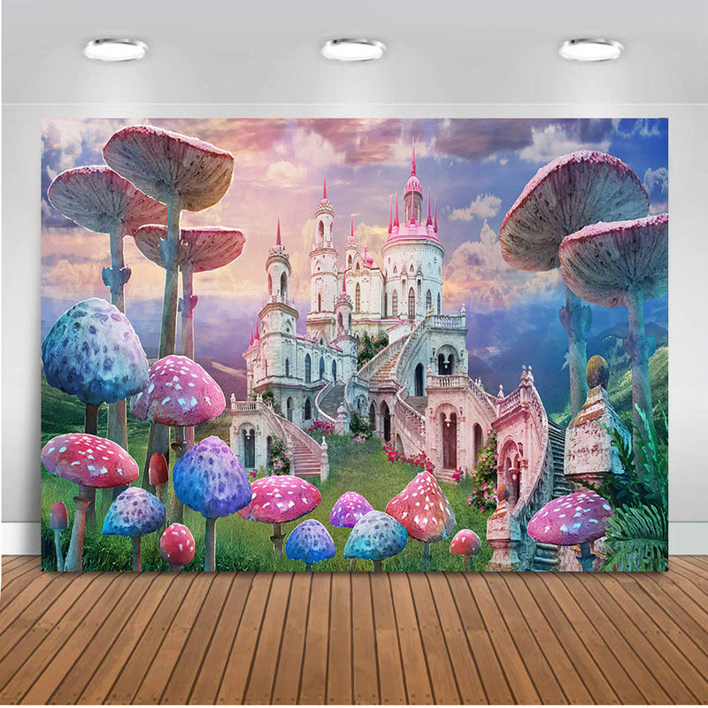 Mushroom photo shoot backdrop for photography newborn kids portrait background for happy birthday photo studio castle princess