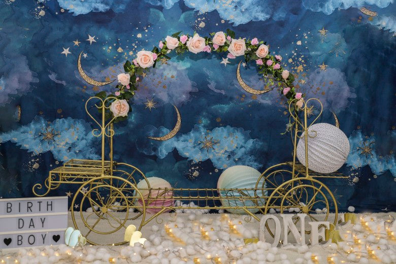 Gold Moon Stars Flash Newborn Backdrop for Photography Baby Shower Birthday Party Photo Background for Children Backdrops Studio
